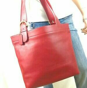 Vintage Red Leather Coach Lafayette Tote Bag